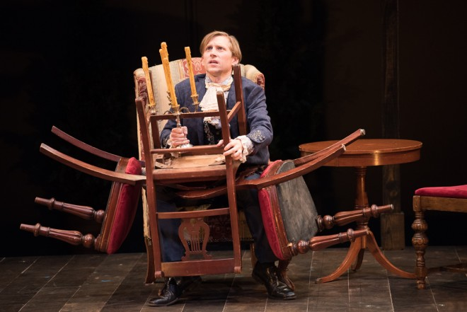 Jeremy Beck as Charles Marlow in a scene from SHE STOOPS TO CONQUER. Photograph by Marielle Solan