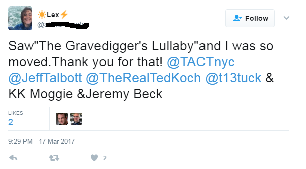 """Saw The Gravedigger's Lullaby and I was so moved. Thank you for that!..."""